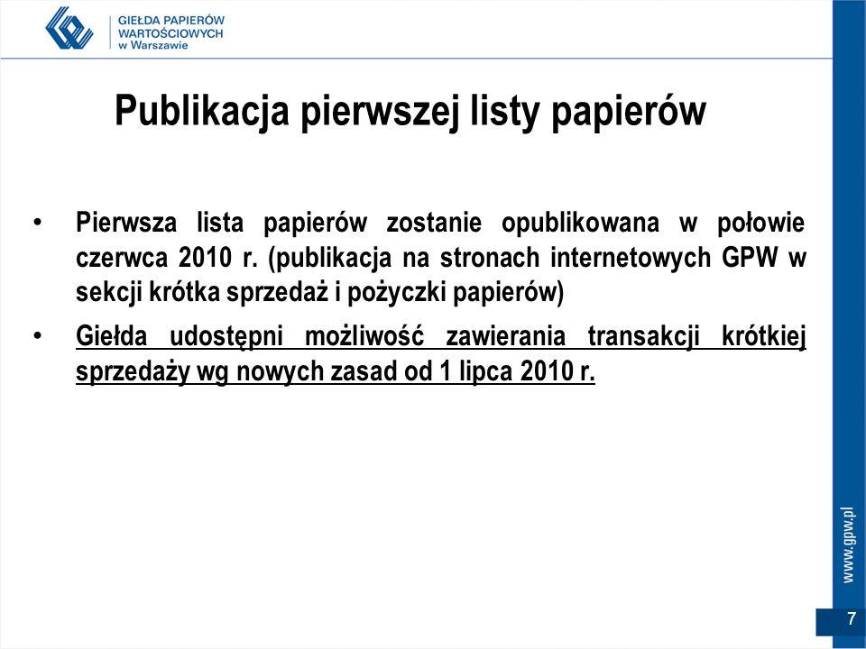 7 Publikacja pierwszej listy papierów Pierwsza lista papierów zostanie opublikowana w połowie czerwca 2010 r.