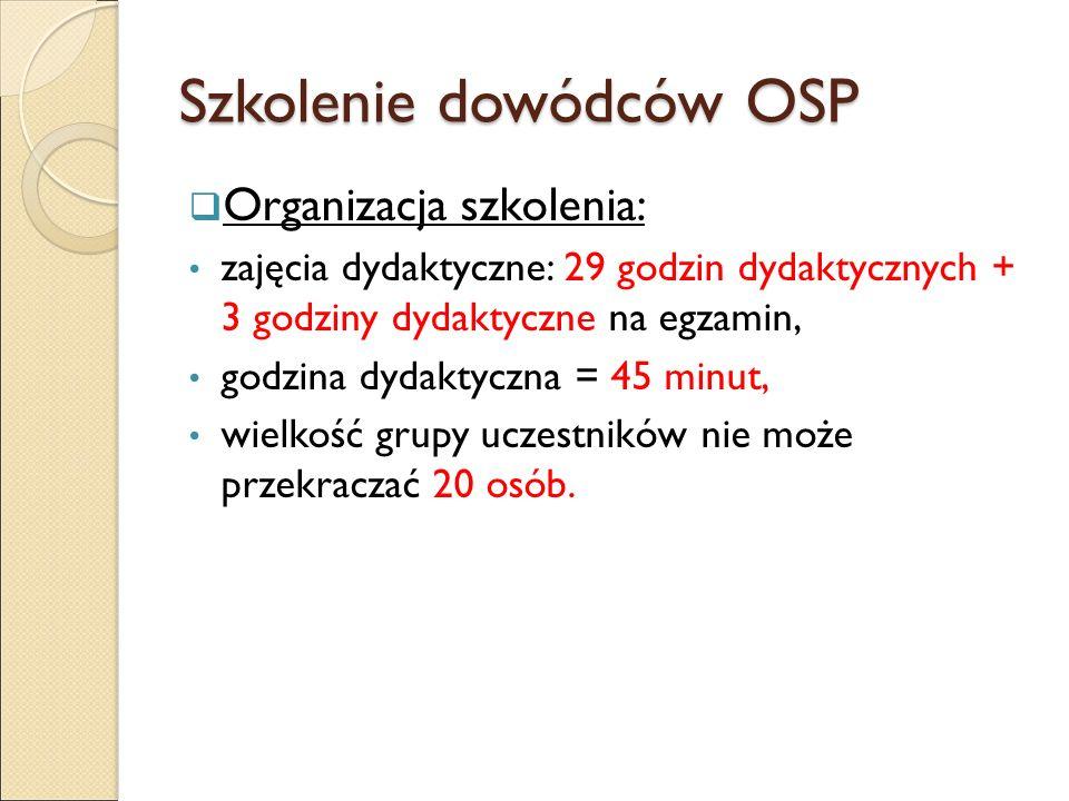 Szkolenie dowódców OSP  Organizacja szkolenia: zajęcia dydaktyczne: 29 godzin dydaktycznych + 3 godziny dydaktyczne na egzamin, godzina dydaktyczna = 45 minut, wielkość grupy uczestników nie może przekraczać 20 osób.