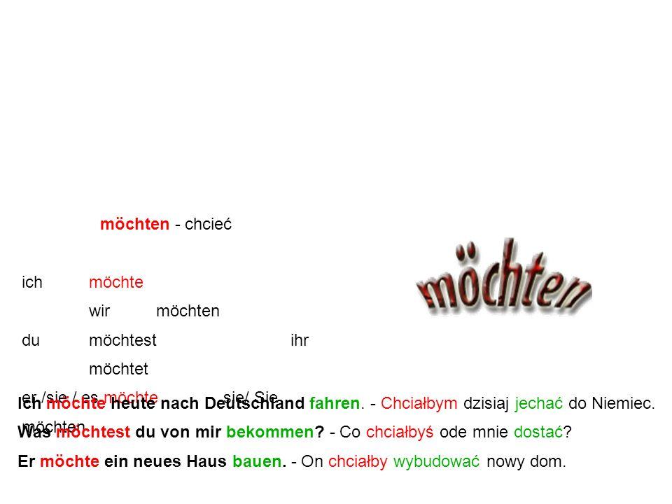 """Czasownik modalny """"möchten"""" jest to forma przypuszczająca czasownika """"mögen"""". Występuje ona bardzo często w języku niemieckim. W języku polskim oznacz"""