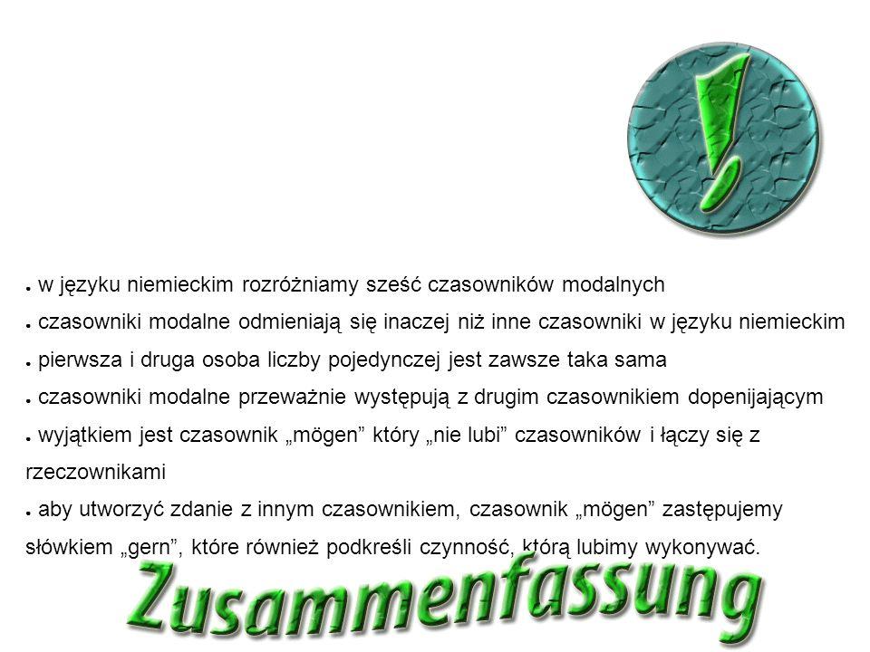 Zusammenfassung podsumowanie ● w języku niemieckim rozróżniamy sześć czasowników modalnych ● czasowniki modalne odmieniają się inaczej niż inne czasow