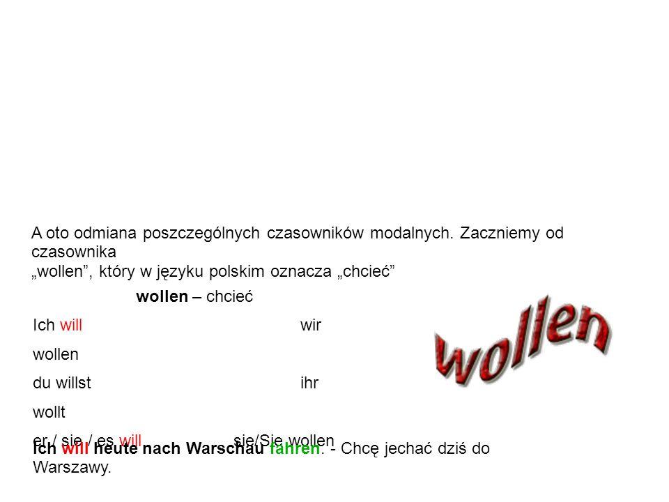 Czasowniki modalne nie występują zazwyczaj same lecz z bezokolicznikiem innego czasownika. Bezokolicznik drugiego czasownika występuje zawsze na końcu