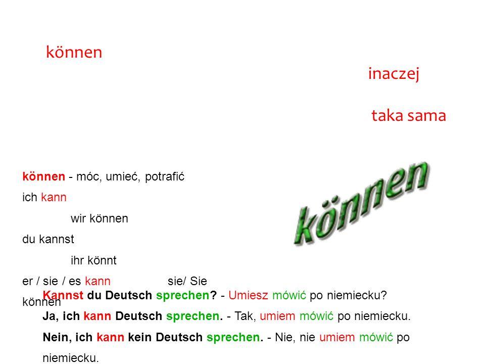 """A teraz zajmiemy się odmianą czasownika modalnego """"können"""" - móc, umieć potrafić. Musimy pamiętać, że jak każdy czasownik modalny, odmienia się on ina"""