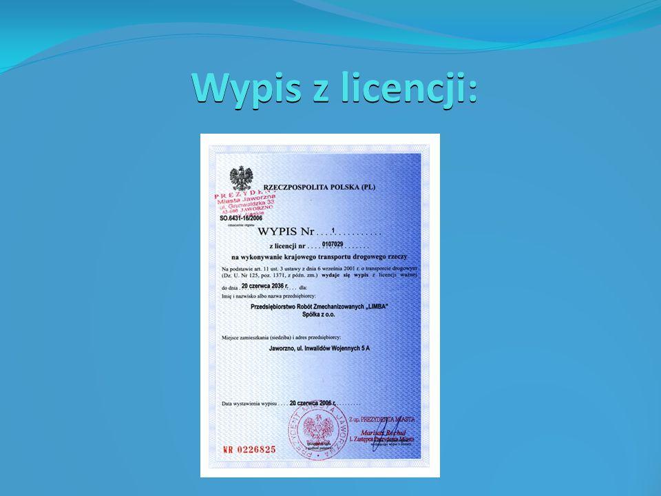 Wypis z licencji: