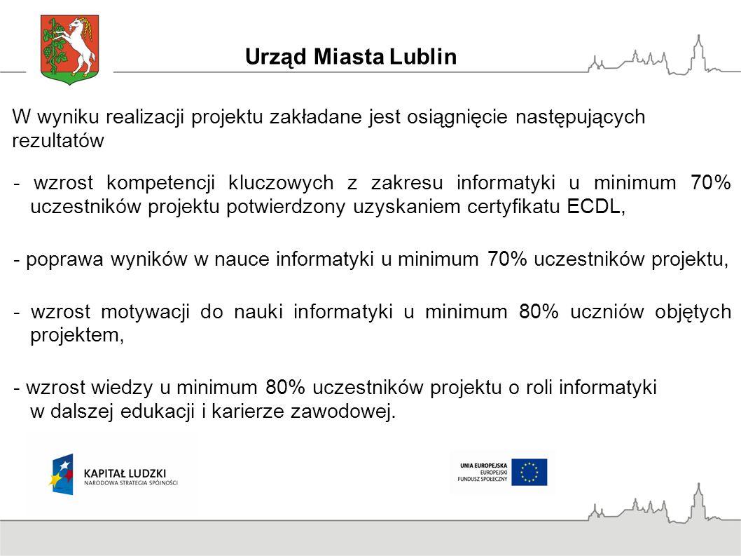 W wyniku realizacji projektu zakładane jest osiągnięcie następujących rezultatów - wzrost kompetencji kluczowych z zakresu informatyki u minimum 70% uczestników projektu potwierdzony uzyskaniem certyfikatu ECDL, - poprawa wyników w nauce informatyki u minimum 70% uczestników projektu, - wzrost motywacji do nauki informatyki u minimum 80% uczniów objętych projektem, - wzrost wiedzy u minimum 80% uczestników projektu o roli informatyki w dalszej edukacji i karierze zawodowej.