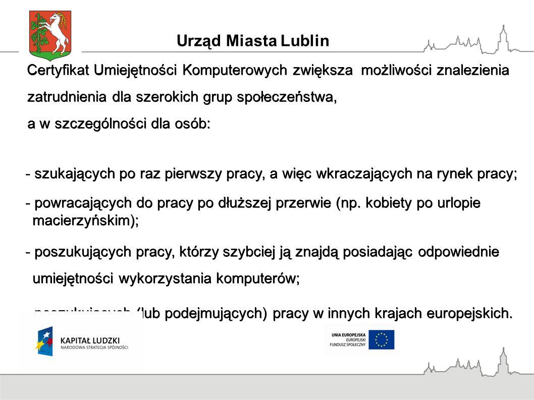 Europejski Certyfikat Umiejętności Komputerowych jest jednolity w całej Europie i służy: - przygotowaniu obywateli Europy do życia w Społeczeństwie Globalnej Informacji; - przygotowaniu obywateli Europy do życia w Społeczeństwie Globalnej Informacji; - podniesieniu poziomu umiejętności wykorzystania mikrokomputerów w pracy zawodowej i życiu codziennym; - podniesieniu poziomu umiejętności wykorzystania mikrokomputerów w pracy zawodowej i życiu codziennym; - wprowadzeniu i ujednoliceniu bazowego poziomu kwalifikacji, niezależnego od kierunku i poziomu wykształcenia pracowników; - wprowadzeniu i ujednoliceniu bazowego poziomu kwalifikacji, niezależnego od kierunku i poziomu wykształcenia pracowników; - opracowaniu modelu edukacji w zakresie użytkowania mikrokomputerów; - opracowaniu modelu edukacji w zakresie użytkowania mikrokomputerów; - umożliwieniu przemieszczania się pracowników pomiędzy krajami w ramach Wspólnoty Europejskiej.