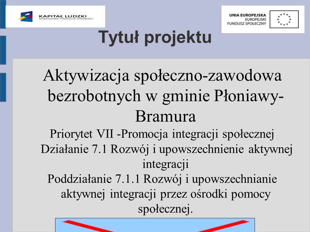 Tytuł projektu Aktywizacja społeczno-zawodowa bezrobotnych w gminie Płoniawy- Bramura Priorytet VII -Promocja integracji społecznej Działanie 7.1 Rozwój i upowszechnienie aktywnej integracji Poddziałanie 7.1.1 Rozwój i upowszechnianie aktywnej integracji przez ośrodki pomocy społecznej.