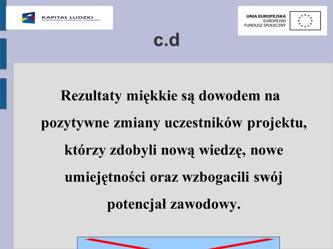 c.d Rezultaty miękkie są dowodem na pozytywne zmiany uczestników projektu, którzy zdobyli nową wiedzę, nowe umiejętności oraz wzbogacili swój potencjał zawodowy.