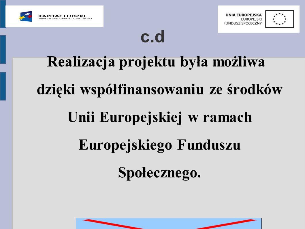 c.d Realizacja projektu była możliwa dzięki współfinansowaniu ze środków Unii Europejskiej w ramach Europejskiego Funduszu Społecznego.