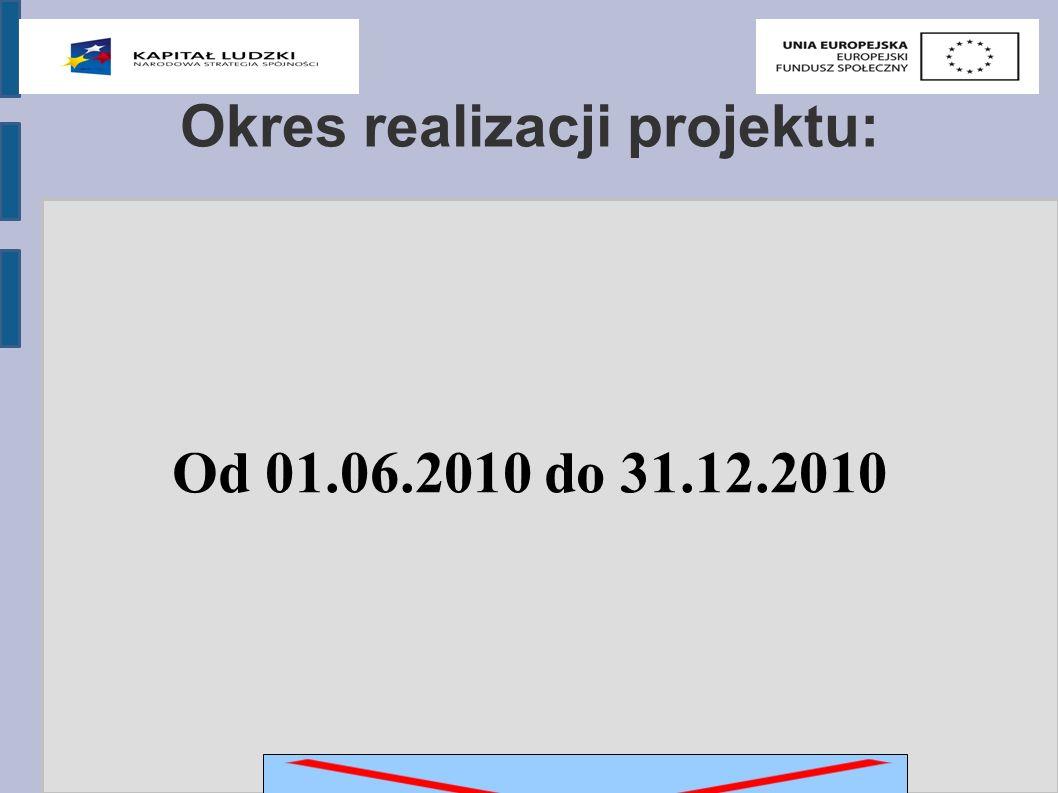 Okres realizacji projektu: Od 01.06.2010 do 31.12.2010