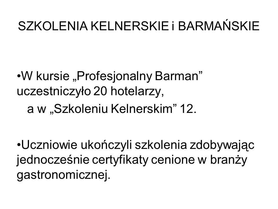 """SZKOLENIA KELNERSKIE i BARMAŃSKIE W kursie """"Profesjonalny Barman"""" uczestniczyło 20 hotelarzy, a w """"Szkoleniu Kelnerskim"""" 12. Uczniowie ukończyli szkol"""