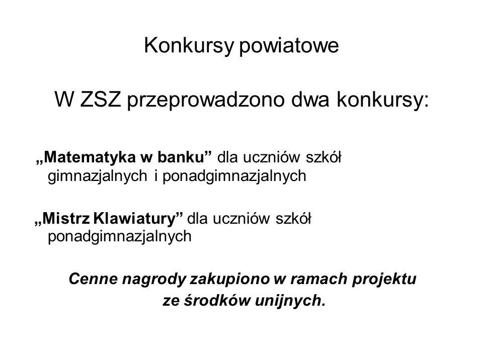 """Konkursy powiatowe W ZSZ przeprowadzono dwa konkursy: """"Matematyka w banku"""" dla uczniów szkół gimnazjalnych i ponadgimnazjalnych """"Mistrz Klawiatury"""" dl"""