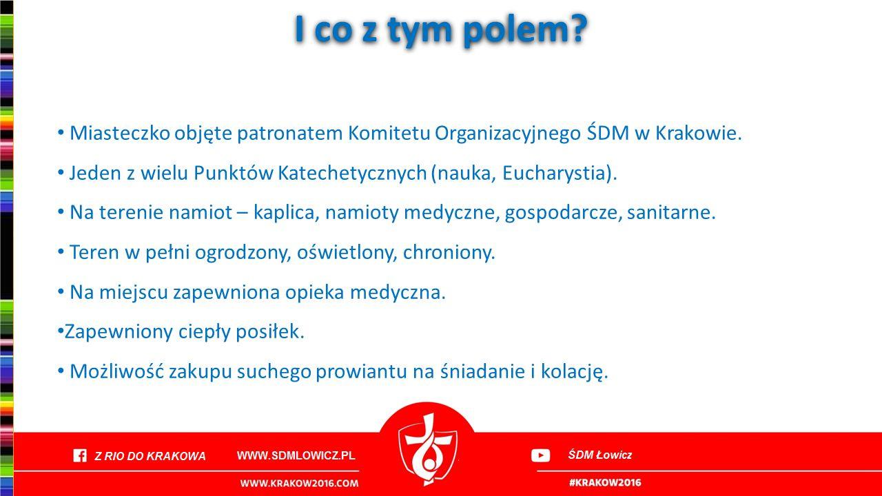 I co z tym polem. Miasteczko objęte patronatem Komitetu Organizacyjnego ŚDM w Krakowie.