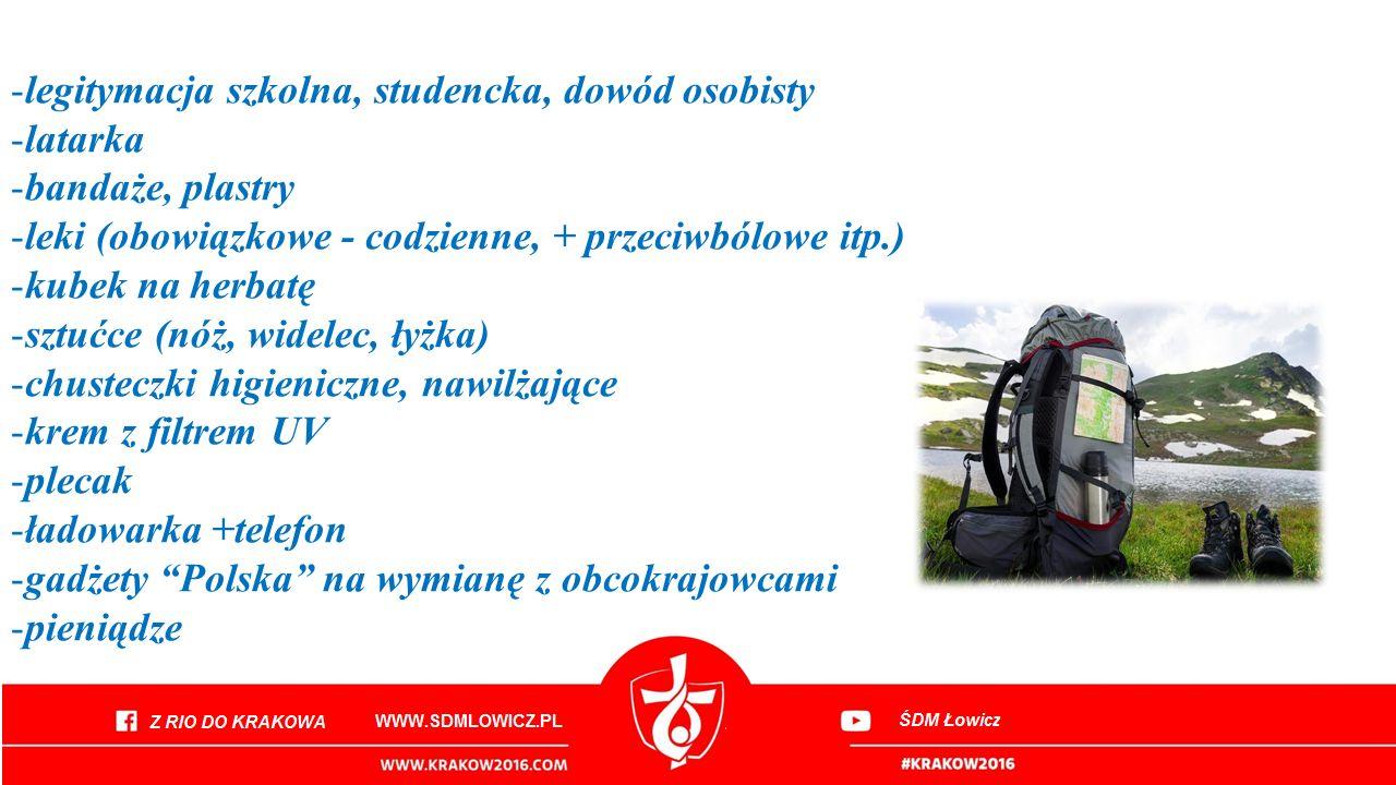 -legitymacja szkolna, studencka, dowód osobisty -latarka -bandaże, plastry -leki (obowiązkowe - codzienne, + przeciwbólowe itp.) -kubek na herbatę -sztućce (nóż, widelec, łyżka) -chusteczki higieniczne, nawilżające -krem z filtrem UV -plecak -ładowarka +telefon -gadżety Polska na wymianę z obcokrajowcami -pieniądze