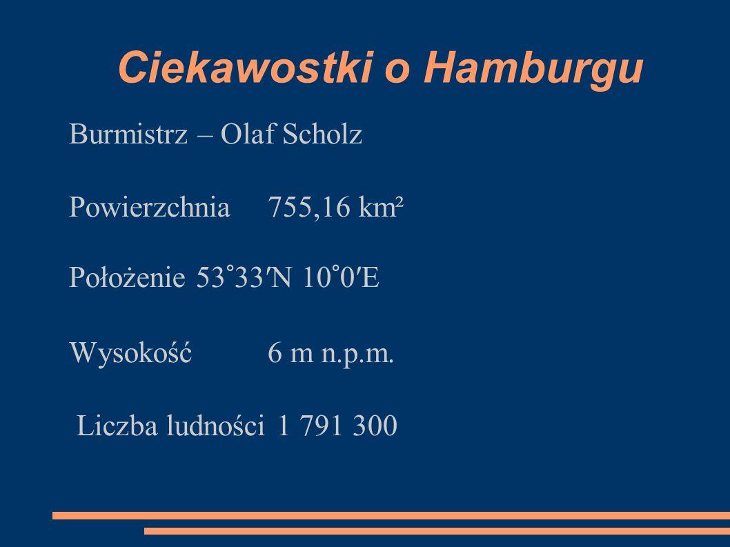 Ciekawostki o Hamburgu Burmistrz – Olaf Scholz Powierzchnia 755,16 km² Położenie 53°33′N 10°0′E Wysokość 6 m n.p.m. Liczba ludności 1 791 300