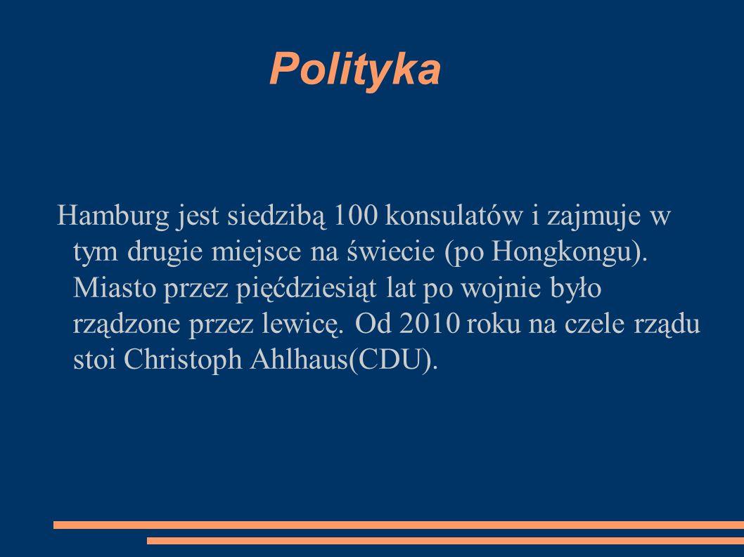 Polityka Hamburg jest siedzibą 100 konsulatów i zajmuje w tym drugie miejsce na świecie (po Hongkongu). Miasto przez pięćdziesiąt lat po wojnie było r