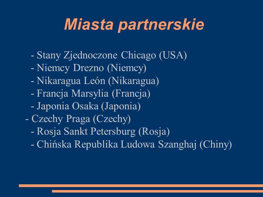Miasta partnerskie - Stany Zjednoczone Chicago (USA) - Niemcy Drezno (Niemcy) - Nikaragua León (Nikaragua) - Francja Marsylia (Francja) - Japonia Osak