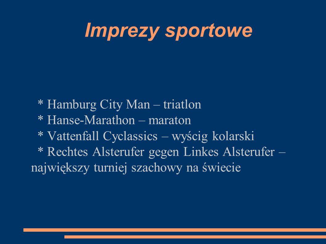 Imprezy sportowe * Hamburg City Man – triatlon * Hanse-Marathon – maraton * Vattenfall Cyclassics – wyścig kolarski * Rechtes Alsterufer gegen Linkes