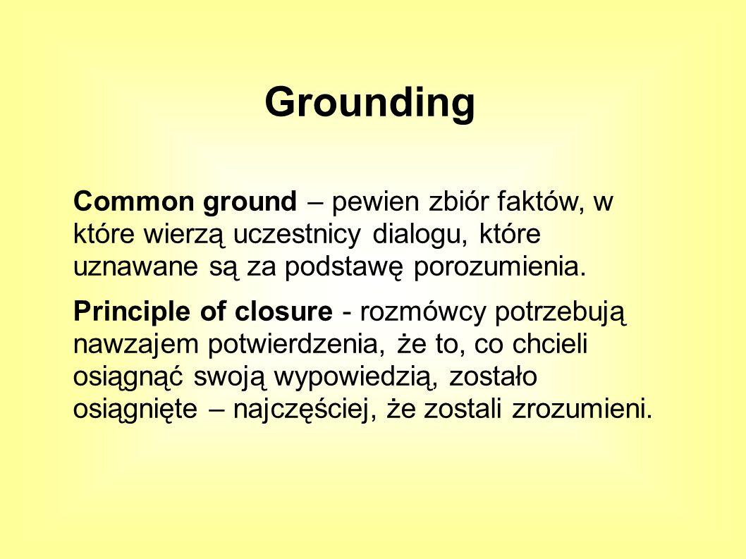 Common ground – pewien zbiór faktów, w które wierzą uczestnicy dialogu, które uznawane są za podstawę porozumienia.