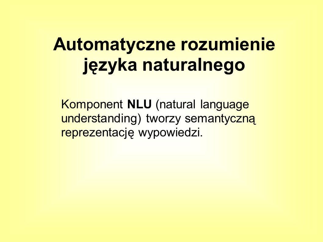Komponent NLU (natural language understanding) tworzy semantyczną reprezentację wypowiedzi.