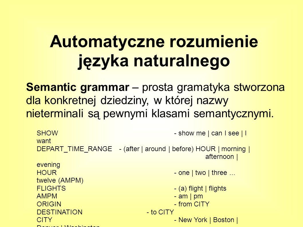 Semantic grammar – prosta gramatyka stworzona dla konkretnej dziedziny, w której nazwy nieterminali są pewnymi klasami semantycznymi.
