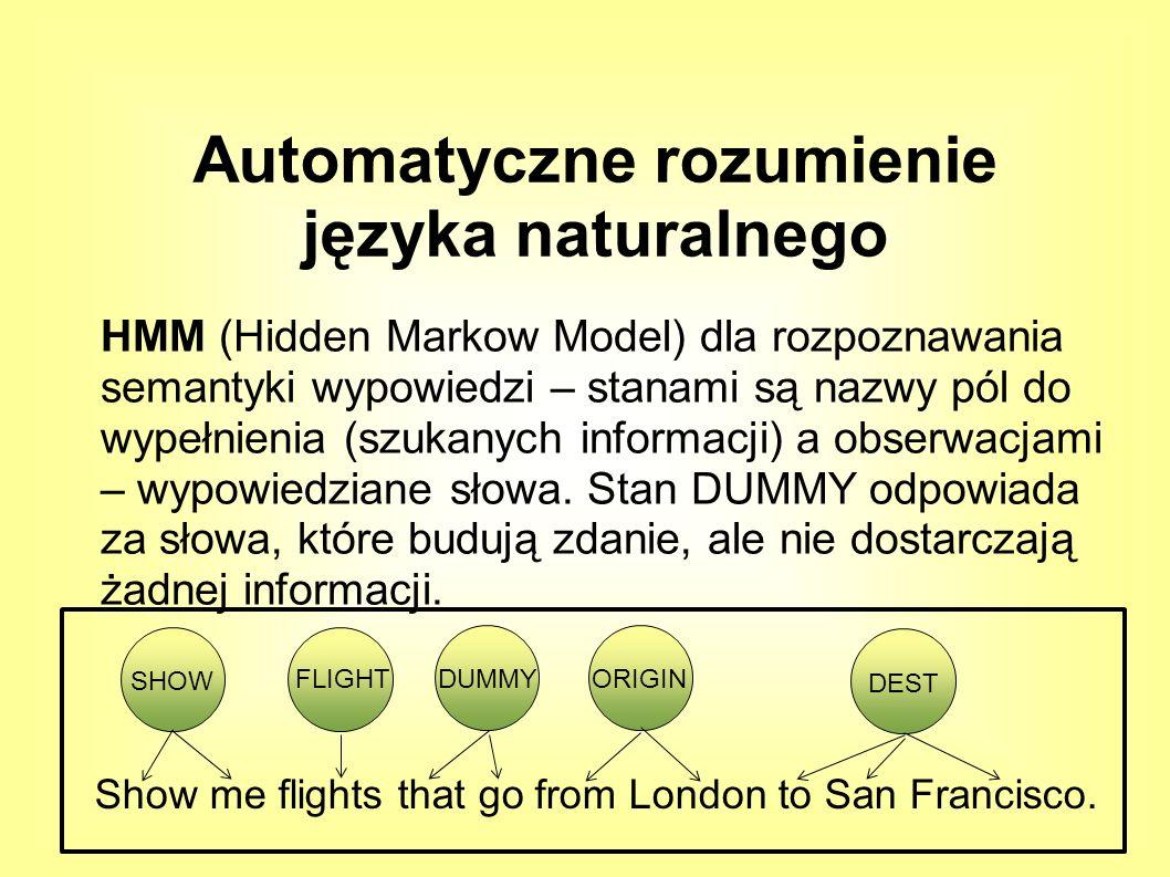HMM (Hidden Markow Model) dla rozpoznawania semantyki wypowiedzi – stanami są nazwy pól do wypełnienia (szukanych informacji) a obserwacjami – wypowiedziane słowa.