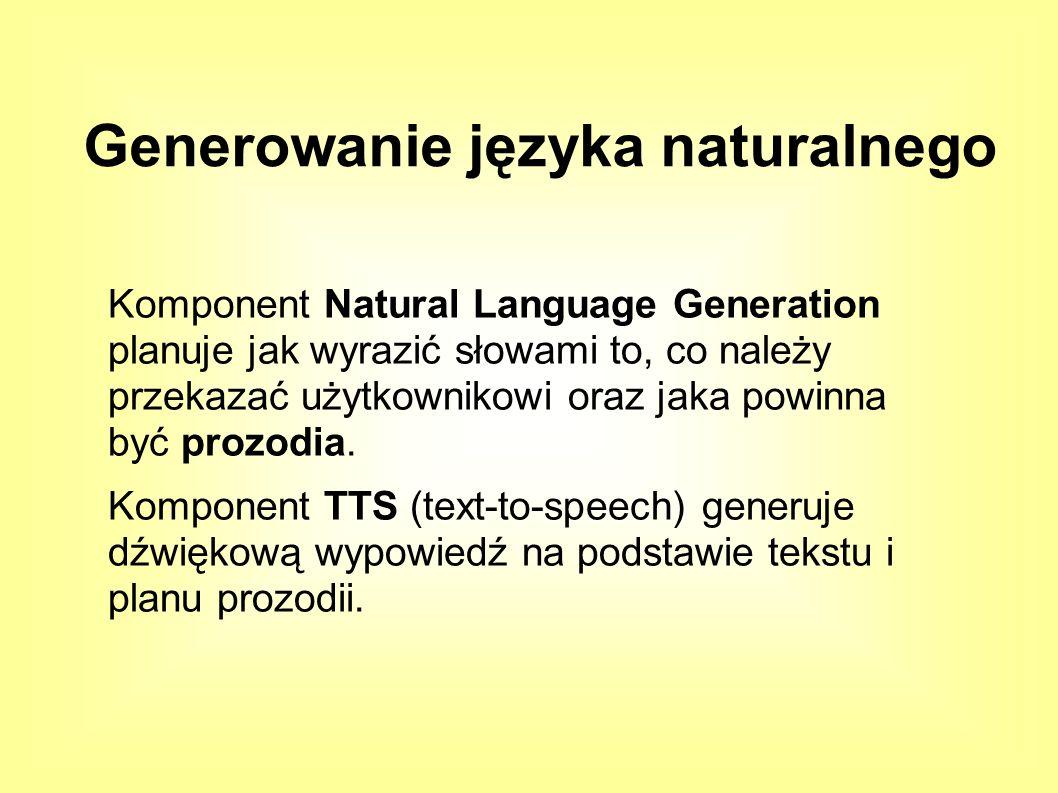 Komponent Natural Language Generation planuje jak wyrazić słowami to, co należy przekazać użytkownikowi oraz jaka powinna być prozodia.