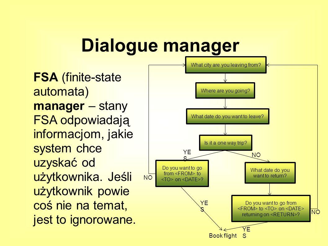 FSA (finite-state automata) manager – stany FSA odpowiadają informacjom, jakie system chce uzyskać od użytkownika.