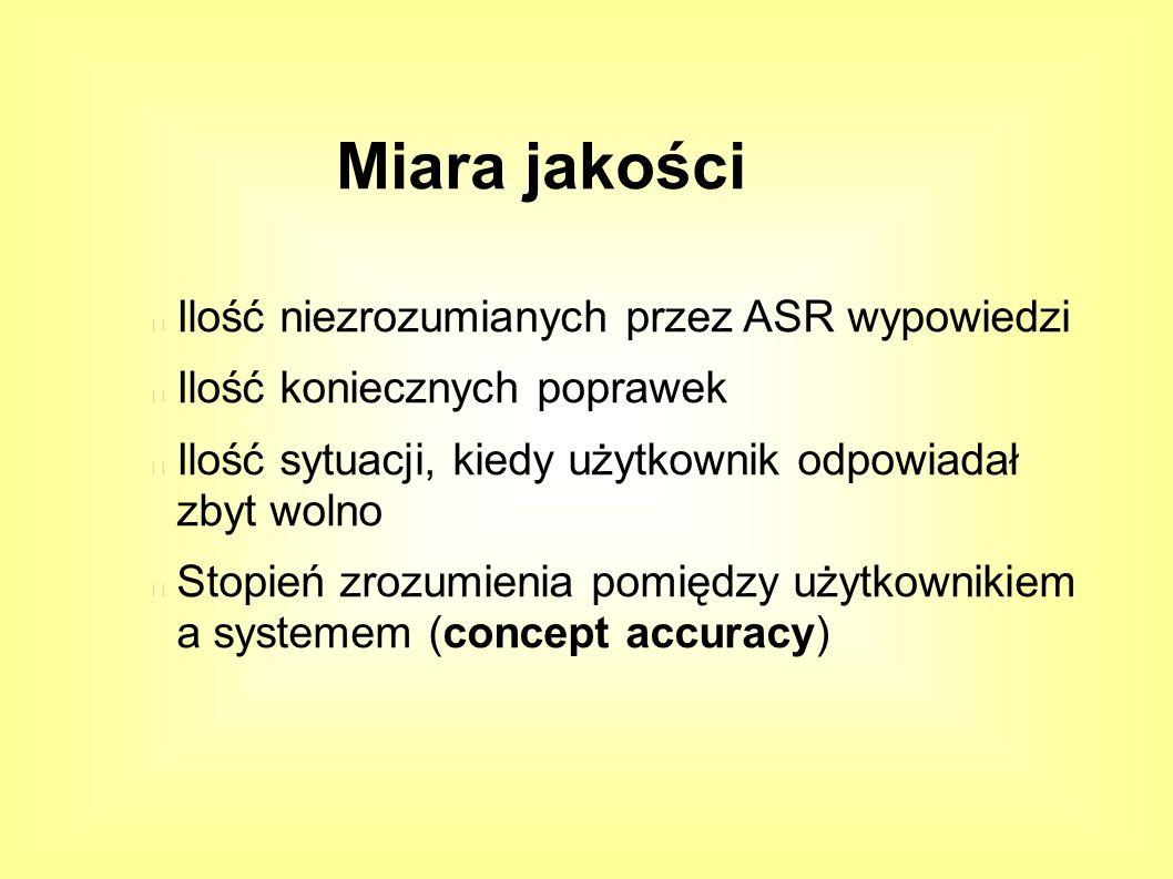 Miara jakości Ilość niezrozumianych przez ASR wypowiedzi Ilość koniecznych poprawek Ilość sytuacji, kiedy użytkownik odpowiadał zbyt wolno Stopień zrozumienia pomiędzy użytkownikiem a systemem (concept accuracy)