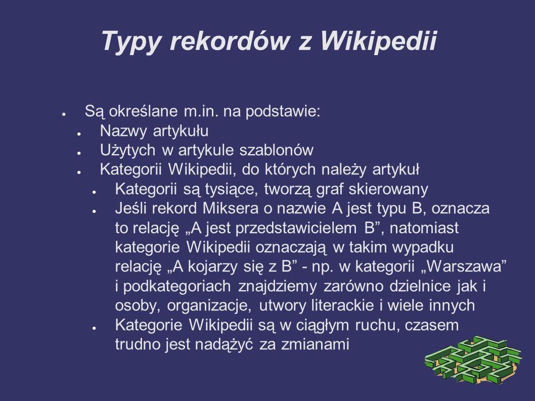 Typy rekordów z Wikipedii ● Są określane m.in.