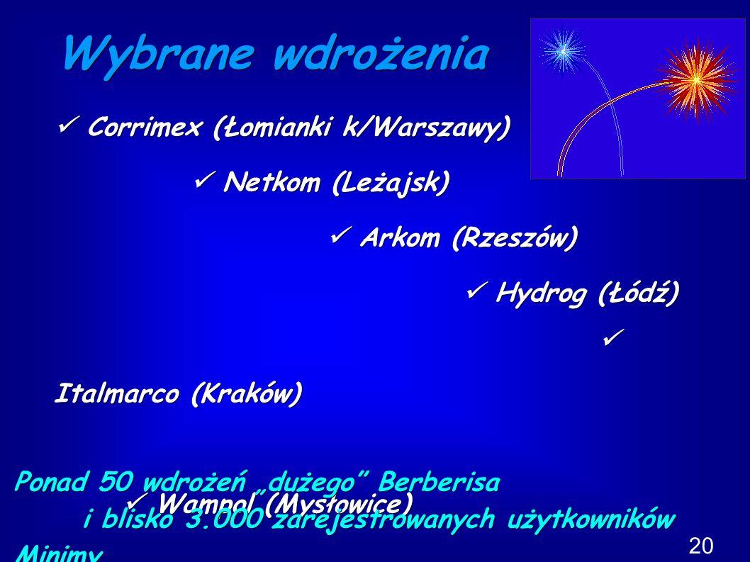 """Wybrane wdrożenia Corrimex (Łomianki k/Warszawy) Corrimex (Łomianki k/Warszawy) Netkom (Leżajsk) Netkom (Leżajsk) Arkom (Rzeszów) Arkom (Rzeszów) Hydrog (Łódź) Hydrog (Łódź) Italmarco (Kraków) Italmarco (Kraków) Wampol (Mysłowice) Wampol (Mysłowice) Metronic (Kraków) Metronic (Kraków) Ponad 50 wdrożeń """"dużego Berberisa i blisko 3.000 zarejestrowanych użytkowników Minimy."""