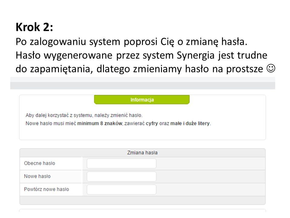 Krok 2: Po zalogowaniu system poprosi Cię o zmianę hasła.