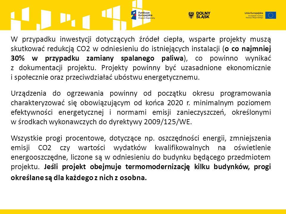 W przypadku inwestycji dotyczących źródeł ciepła, wsparte projekty muszą skutkować redukcją CO2 w odniesieniu do istniejących instalacji (o co najmniej 30% w przypadku zamiany spalanego paliwa), co powinno wynikać z dokumentacji projektu.