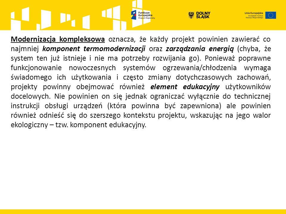 Lista wskaźników produktów do wykonania celów końcowych przez ZIT AW: Powierzchnia użytkowa budynków poddanych termomodernizacji – 52 339 m 2, Zmniejszenie rocznego zużycia energii pierwotnej w budynkach publicznych - 3 089 156 kWh/r – dot.