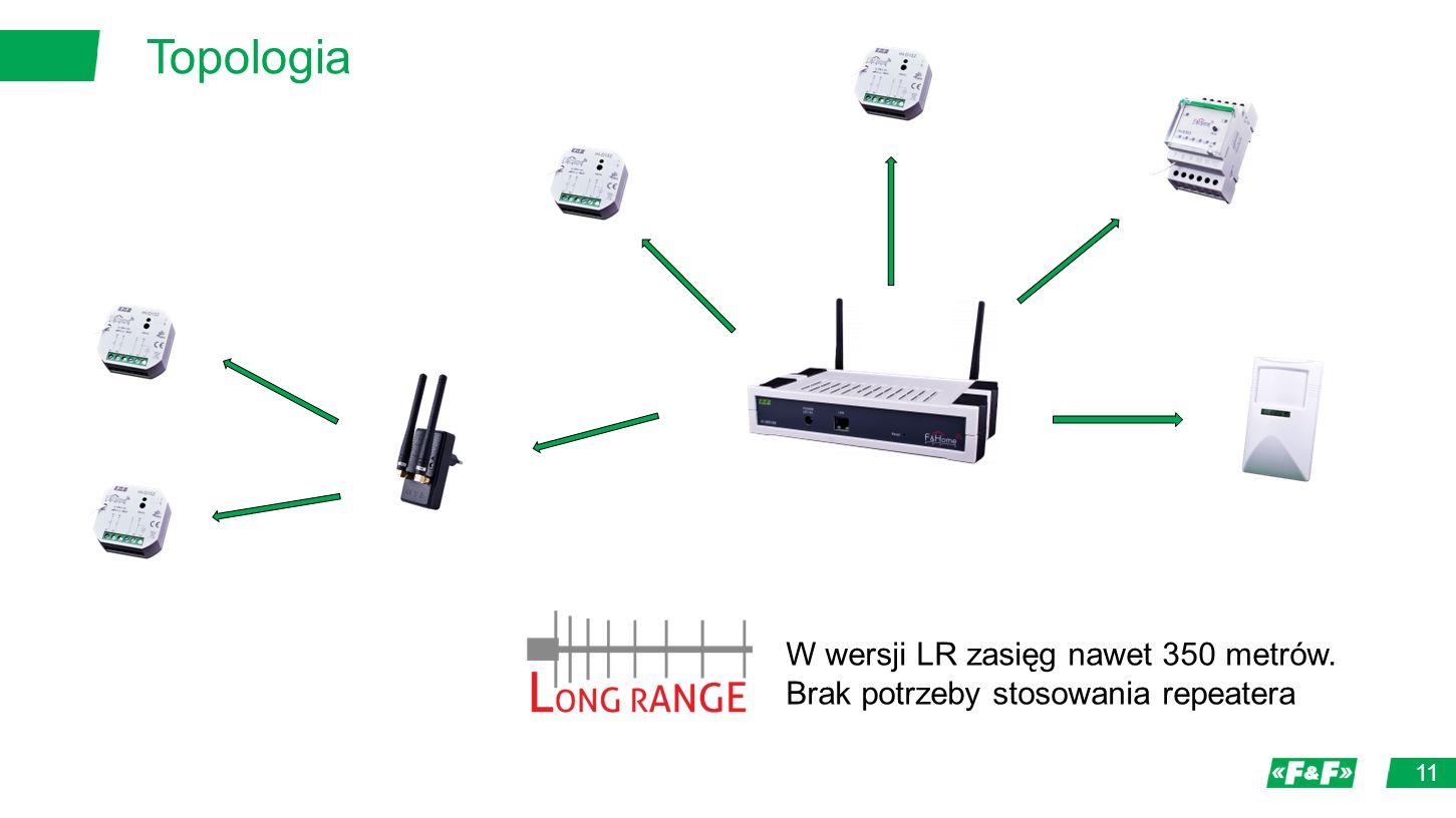 Topologia 11 W wersji LR zasięg nawet 350 metrów. Brak potrzeby stosowania repeatera