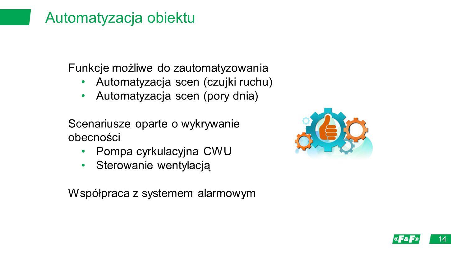 Automatyzacja obiektu 14 Funkcje możliwe do zautomatyzowania Automatyzacja scen (czujki ruchu) Automatyzacja scen (pory dnia) Scenariusze oparte o wykrywanie obecności Pompa cyrkulacyjna CWU Sterowanie wentylacją Współpraca z systemem alarmowym