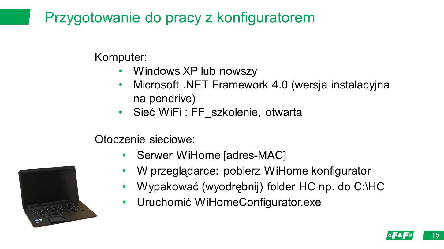 Przygotowanie do pracy z konfiguratorem 15 Komputer: Windows XP lub nowszy Microsoft.NET Framework 4.0 (wersja instalacyjna na pendrive) Sieć WiFi : FF_szkolenie, otwarta Otoczenie sieciowe: Serwer WiHome [adres-MAC] W przeglądarce: pobierz WiHome konfigurator Wypakować (wyodrębnij) folder HC np.