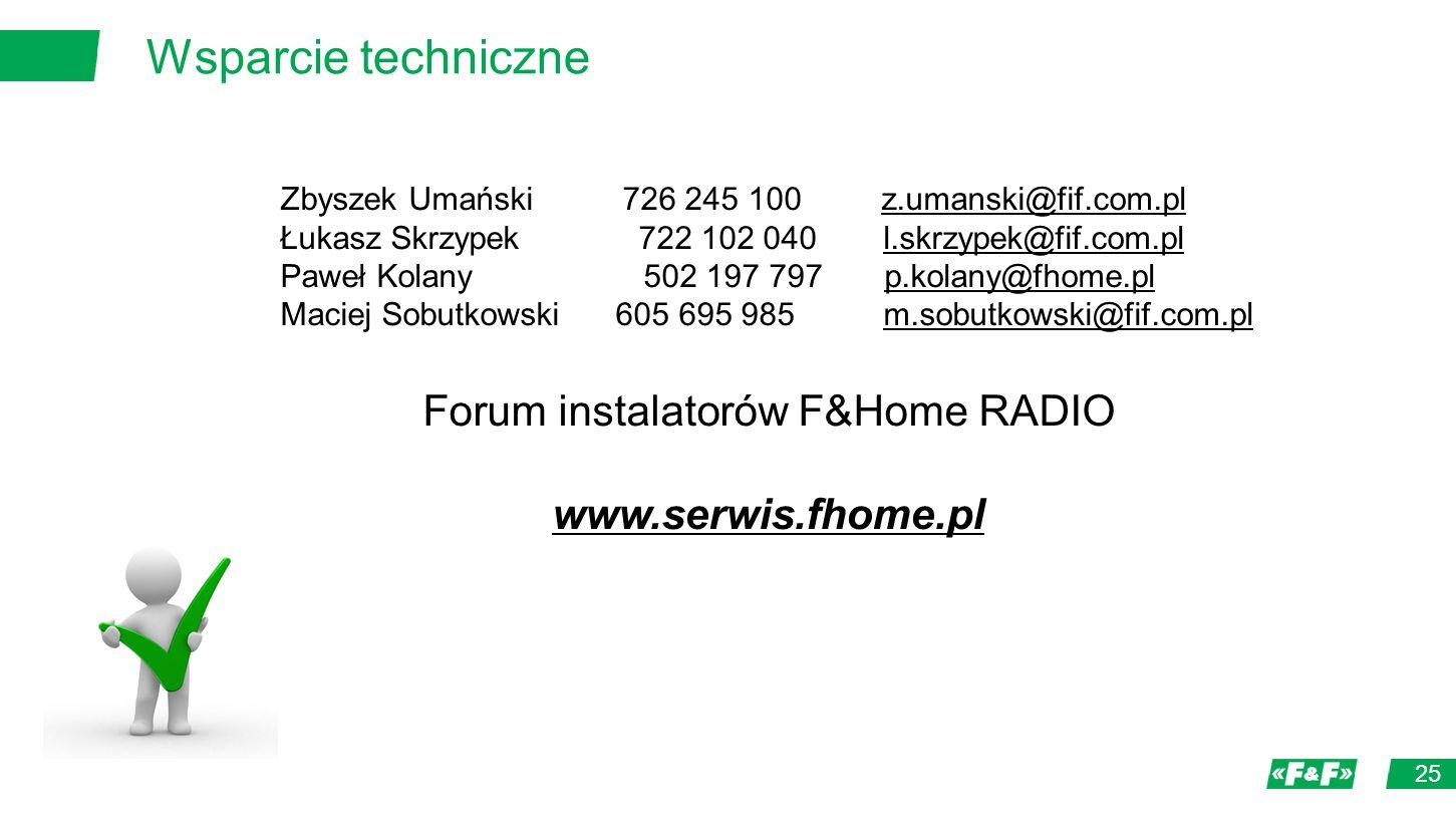 Wsparcie techniczne 25 Zbyszek Umański 726 245 100 z.umanski@fif.com.pl Łukasz Skrzypek 722 102 040 l.skrzypek@fif.com.pl Paweł Kolany 502 197 797 p.kolany@fhome.pl Maciej Sobutkowski 605 695 985 m.sobutkowski@fif.com.pl Forum instalatorów F&Home RADIO www.serwis.fhome.pl