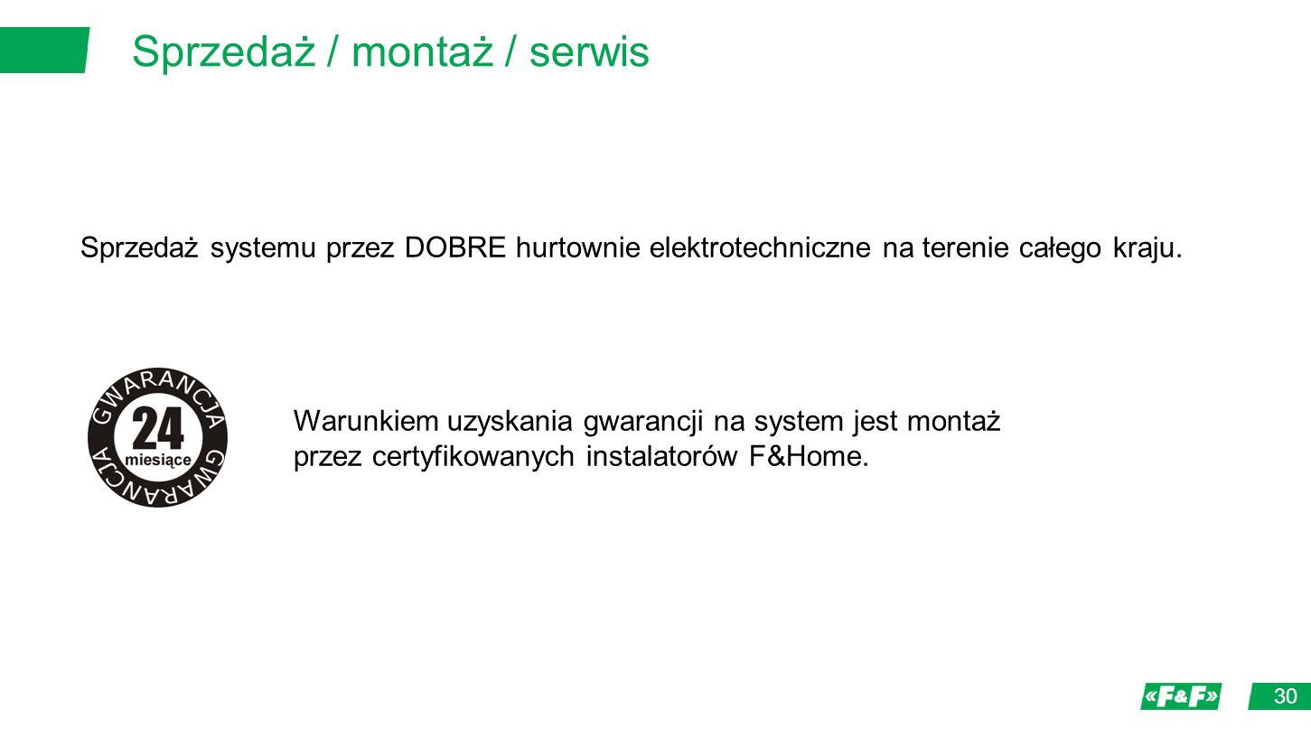 Sprzedaż / montaż / serwis 30 Sprzedaż systemu przez DOBRE hurtownie elektrotechniczne na terenie całego kraju.