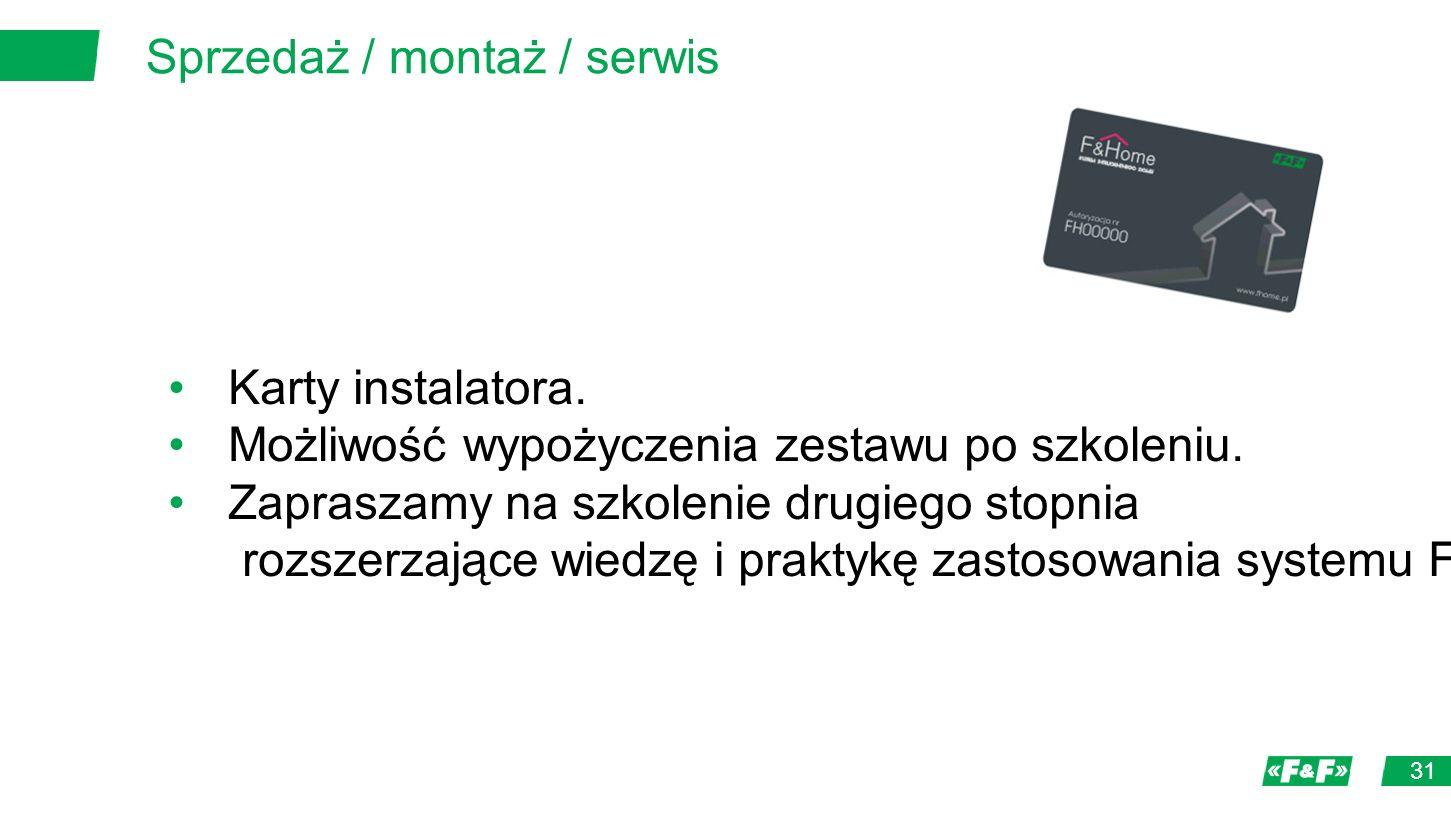 Sprzedaż / montaż / serwis 31 Karty instalatora. Możliwość wypożyczenia zestawu po szkoleniu.