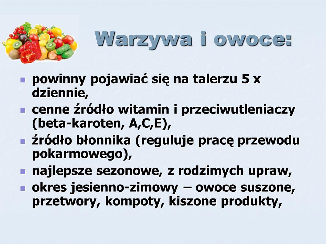 Warzywa i owoce: Warzywa i owoce: powinny pojawiać się na talerzu 5 x dziennie, powinny pojawiać się na talerzu 5 x dziennie, cenne źródło witamin i przeciwutleniaczy (beta-karoten, A,C,E), cenne źródło witamin i przeciwutleniaczy (beta-karoten, A,C,E), źródło błonnika (reguluje pracę przewodu pokarmowego), źródło błonnika (reguluje pracę przewodu pokarmowego), najlepsze sezonowe, z rodzimych upraw, najlepsze sezonowe, z rodzimych upraw, okres jesienno-zimowy – owoce suszone, przetwory, kompoty, kiszone produkty, okres jesienno-zimowy – owoce suszone, przetwory, kompoty, kiszone produkty,