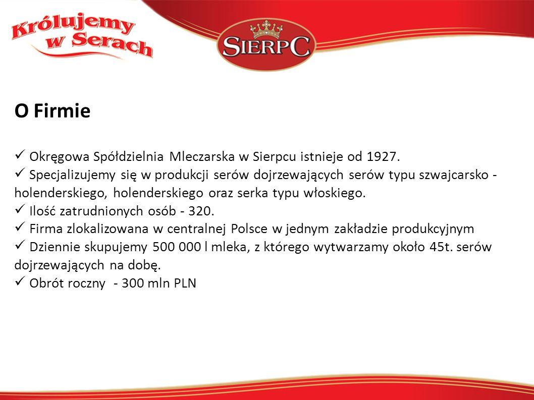 O Firmie Okręgowa Spółdzielnia Mleczarska w Sierpcu istnieje od 1927. Specjalizujemy się w produkcji serów dojrzewających serów typu szwajcarsko - hol