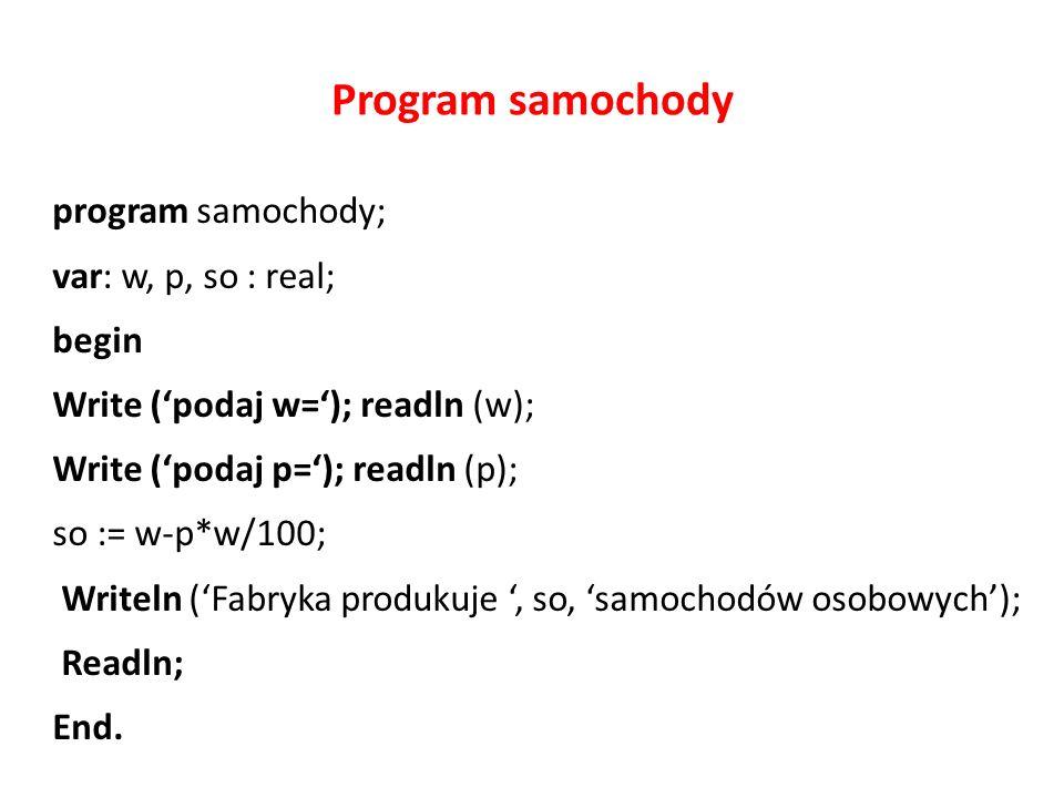 Program samochody program samochody; var: w, p, so : real; begin Write ('podaj w='); readln (w); Write ('podaj p='); readln (p); so := w-p*w/100; Writeln ('Fabryka produkuje ', so, 'samochodów osobowych'); Readln; End.
