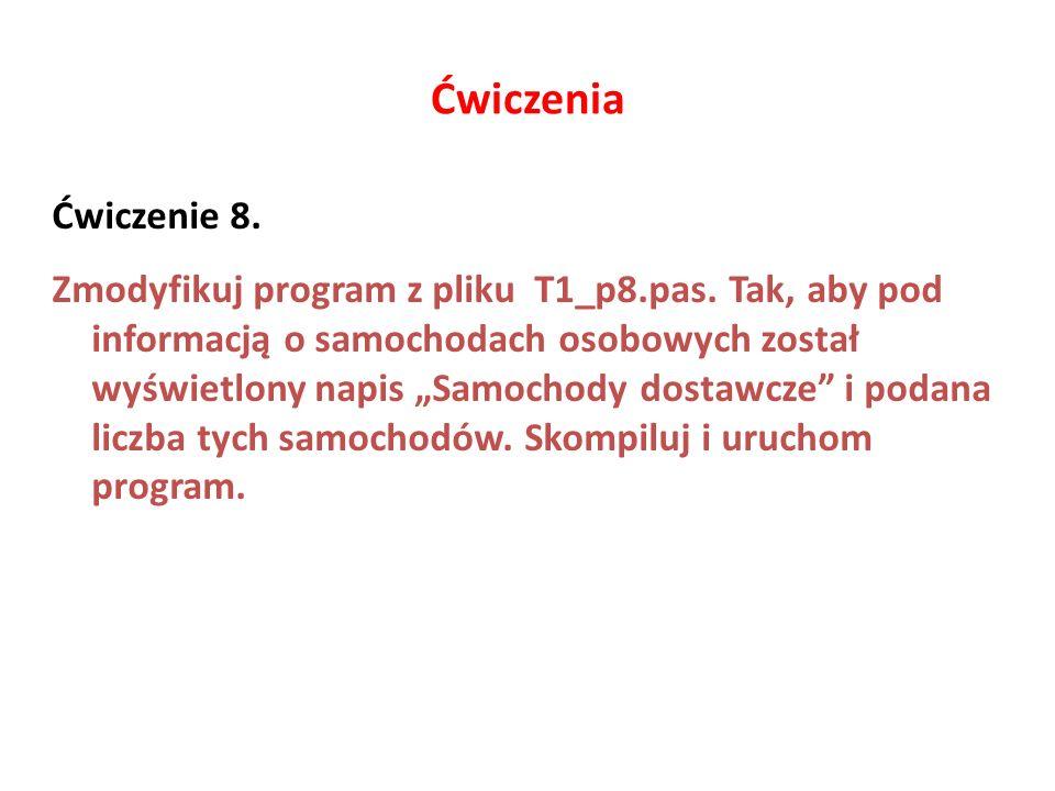 Ćwiczenia Ćwiczenie 8.Zmodyfikuj program z pliku T1_p8.pas.