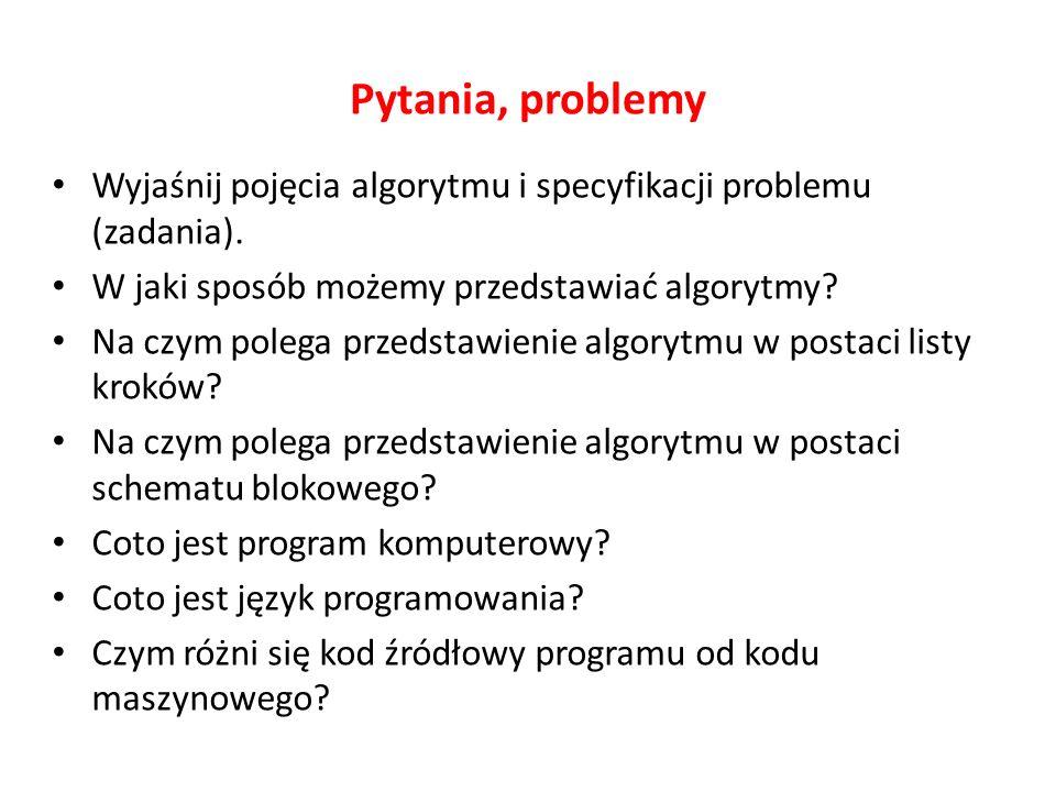 Pytania, problemy Wyjaśnij pojęcia algorytmu i specyfikacji problemu (zadania).