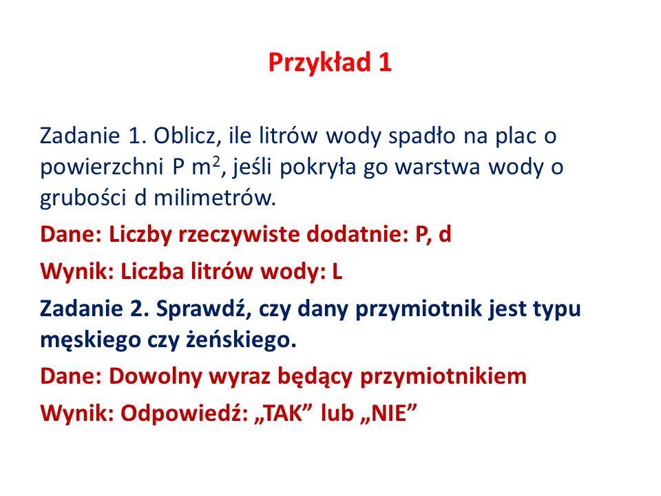 Przykład 1 Zadanie 1.