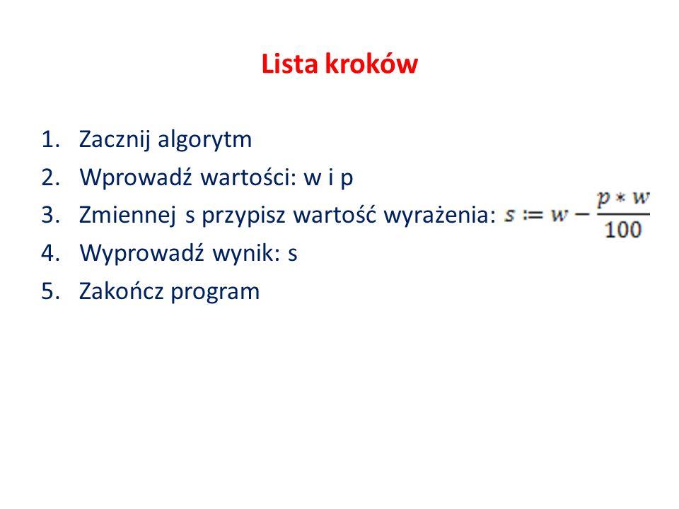 Lista kroków 1.Zacznij algorytm 2.Wprowadź wartości: w i p 3.Zmiennej s przypisz wartość wyrażenia: 4.Wyprowadź wynik: s 5.Zakończ program