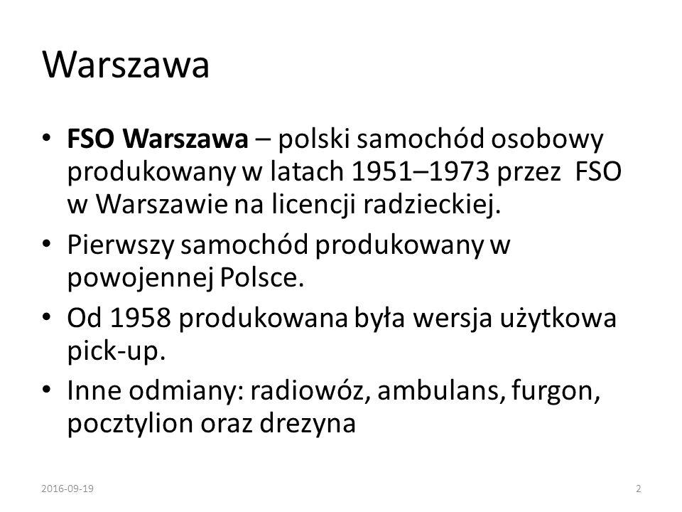 Warszawa FSO Warszawa – polski samochód osobowy produkowany w latach 1951–1973 przez FSO w Warszawie na licencji radzieckiej. Pierwszy samochód produk