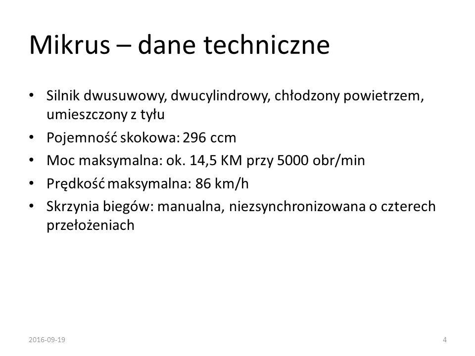 Mikrus – dane techniczne Silnik dwusuwowy, dwucylindrowy, chłodzony powietrzem, umieszczony z tyłu Pojemność skokowa: 296 ccm Moc maksymalna: ok. 14,5