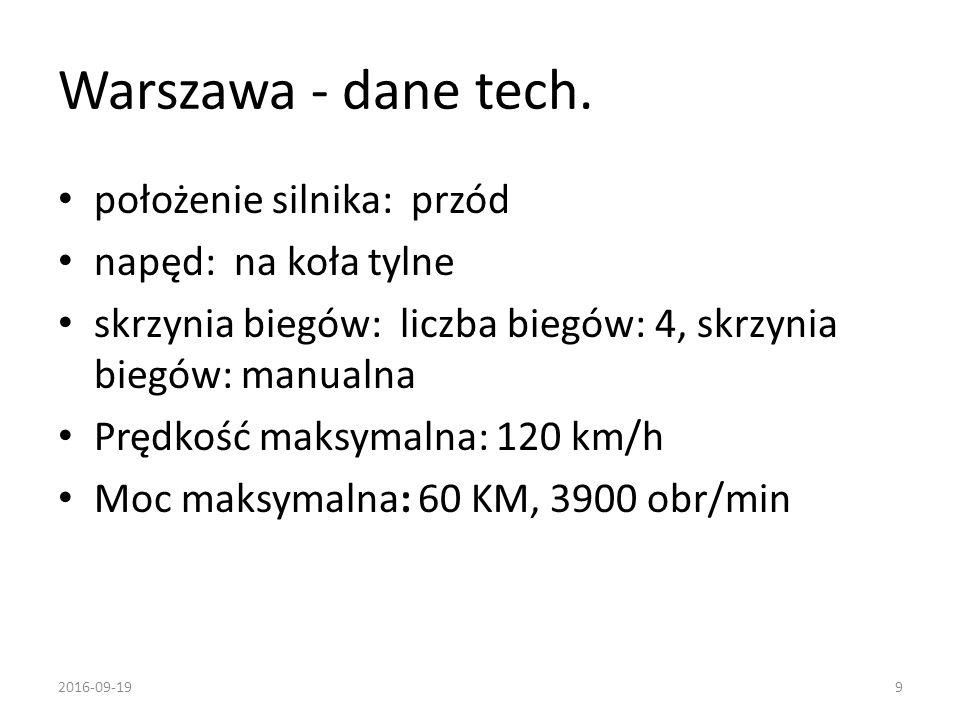 Warszawa - dane tech. położenie silnika: przód napęd: na koła tylne skrzynia biegów: liczba biegów: 4, skrzynia biegów: manualna Prędkość maksymalna: