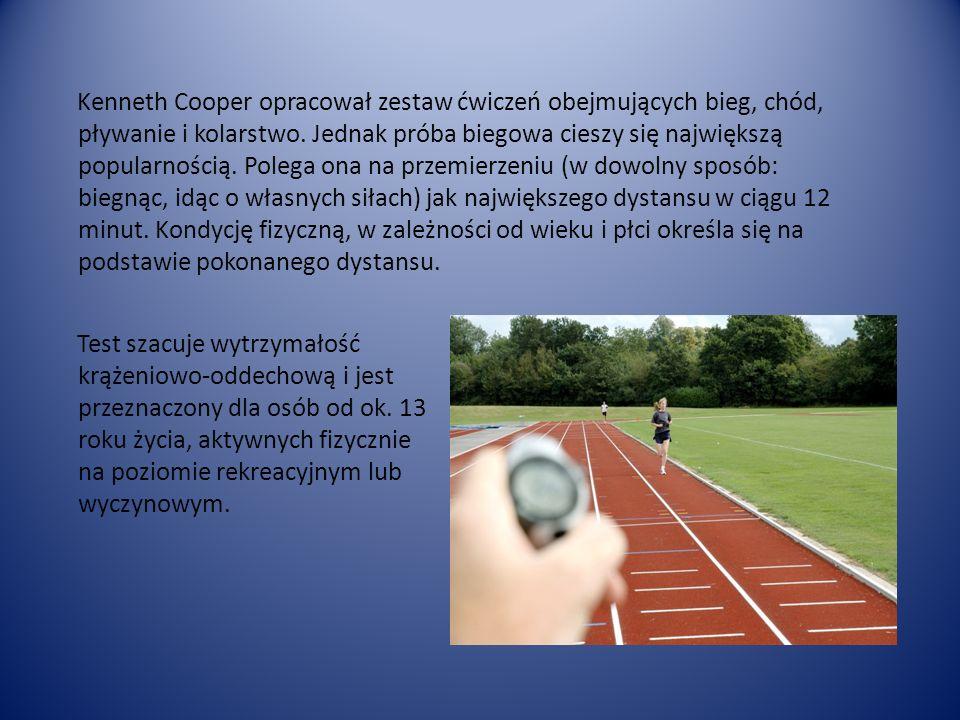 Kenneth Cooper opracował zestaw ćwiczeń obejmujących bieg, chód, pływanie i kolarstwo.